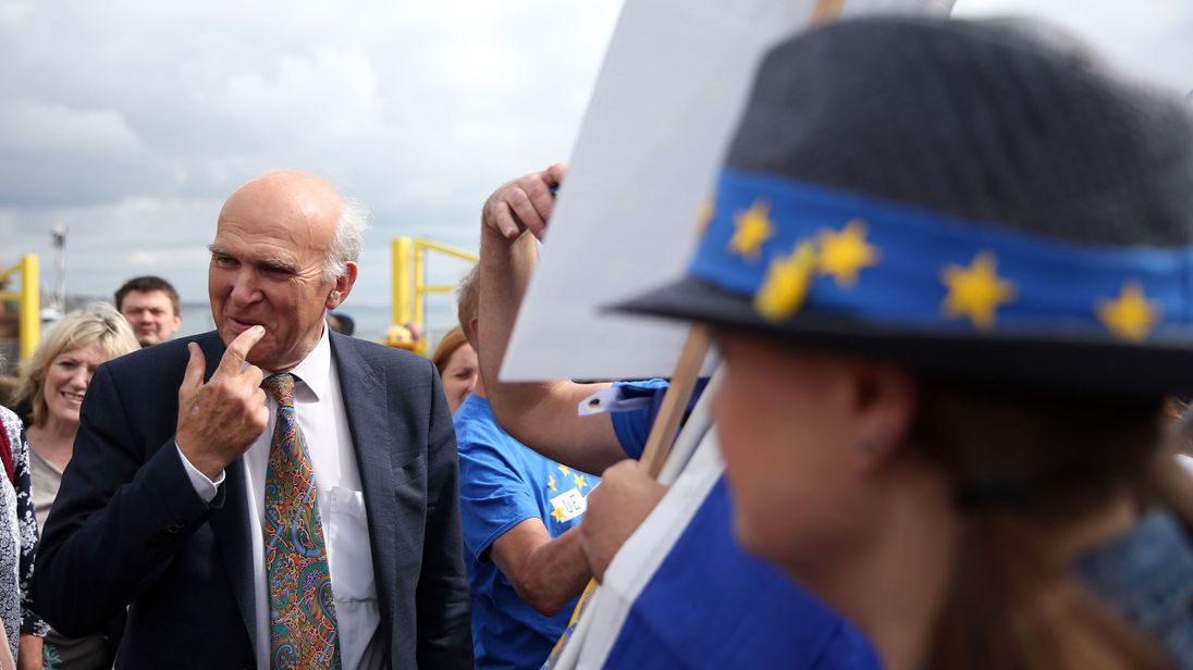Sir Vince Cable at the Lib Dem conference in Bournemouth
