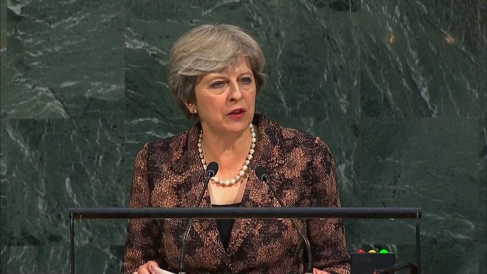 Theresa May at UN General Assembly in New York