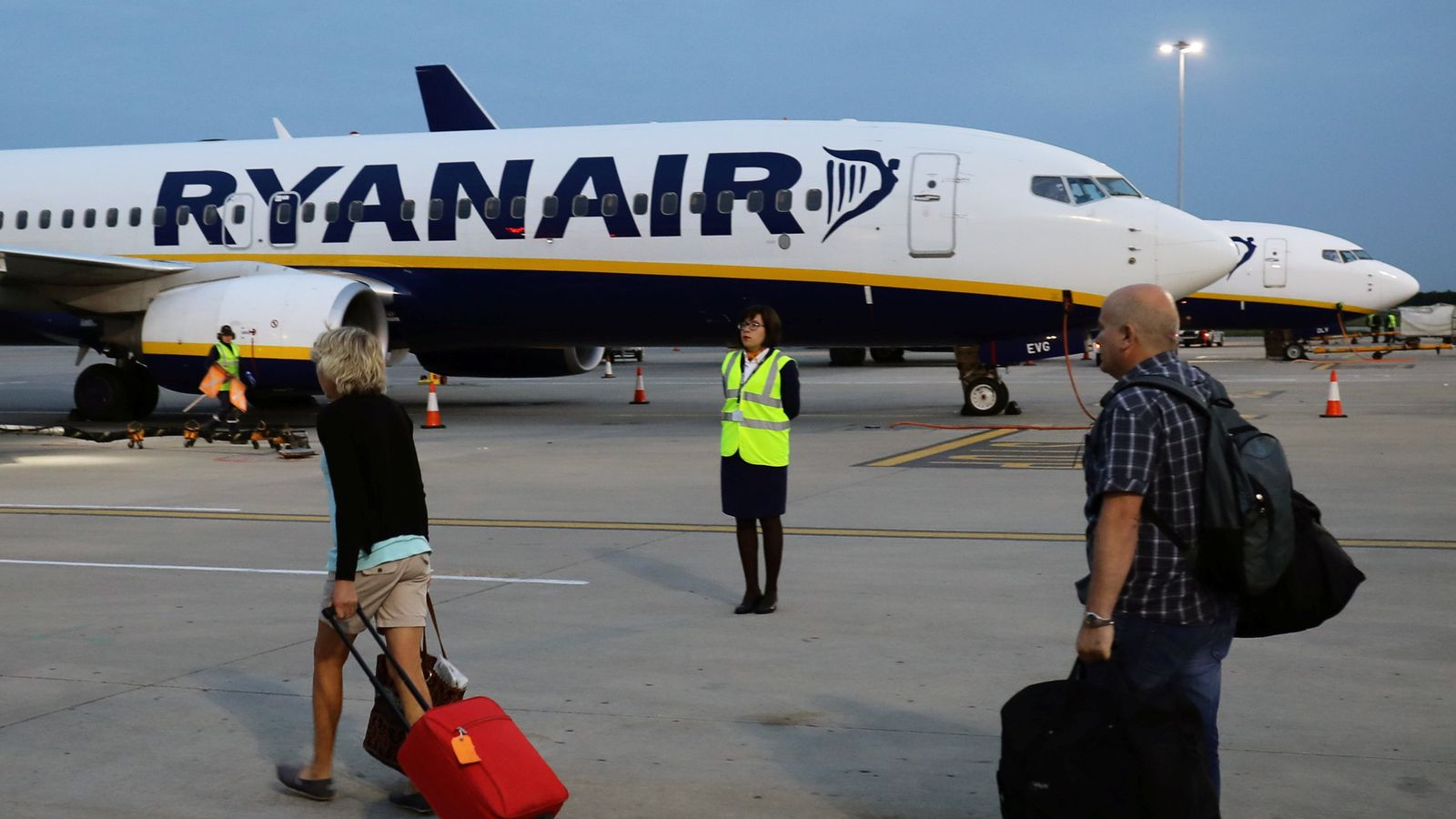 A Ryanair flight at Stansted Airport
