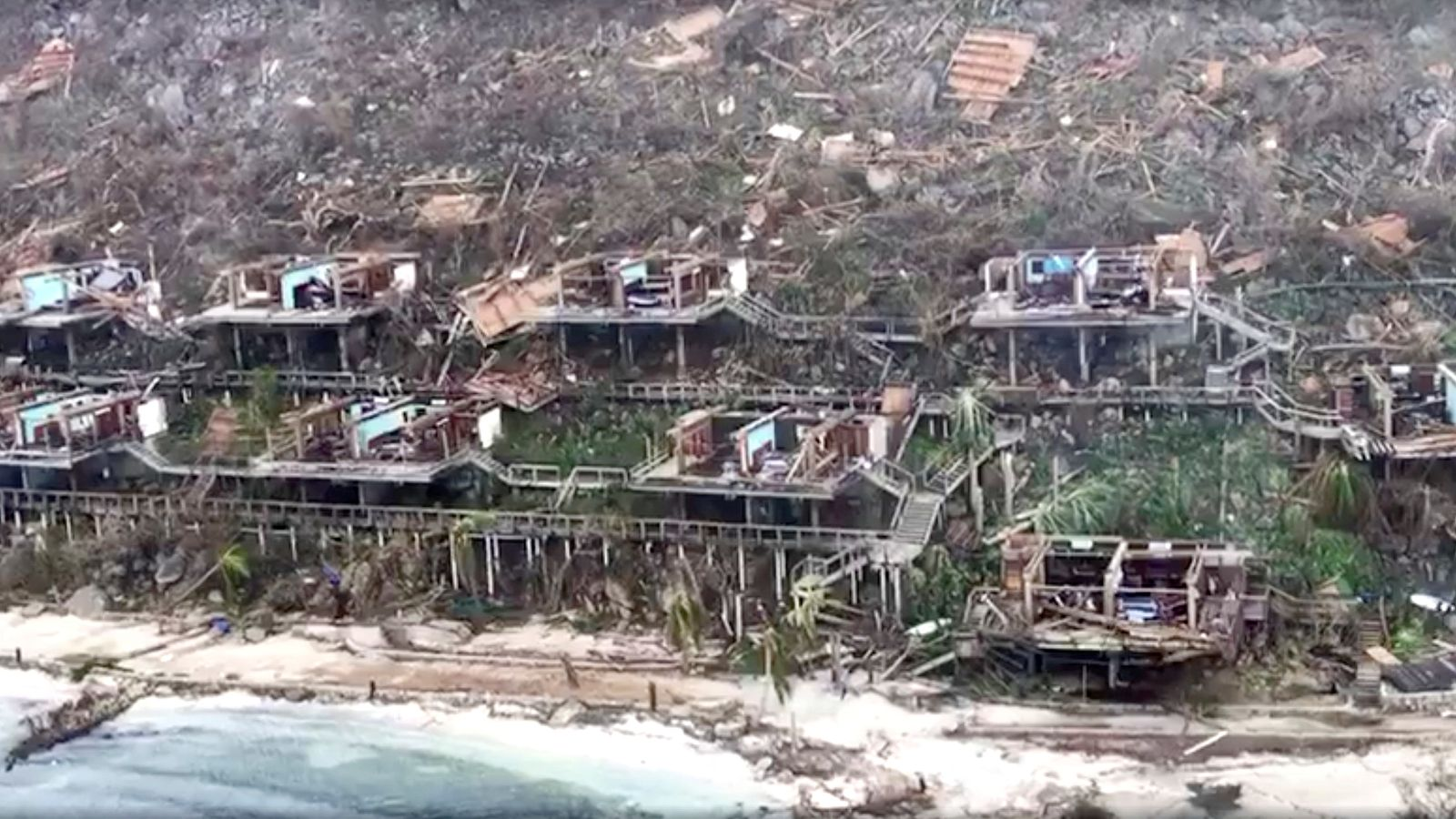 Wreckage cause by Hurricane Irma in the British Virgin Islands. Pic: Caribbean Buzz Helicopters