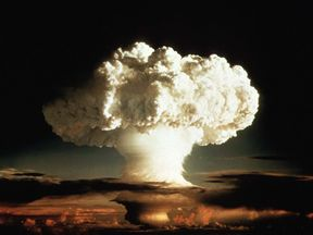 The mushroom cloud of the first test of a hydrogen bomb, Ivy Mike, by the US in 1952