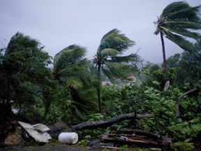 Powerful winds and rains of hurricane Maria battering the city of Petit-Bourg on the French overseas Caribbean island of Guadeloupe