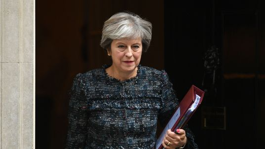 Theresa May leaves 10 Downing Street ahead of Prime Minister's Questions