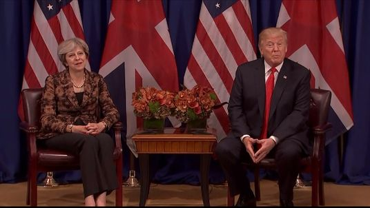 Theresa May and Donald Trump in meeting at the UN.