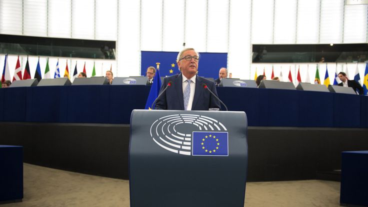 European Commission President Jean-Claude Juncker delivers his State of the Union speech at the European Parliament in Strasbourg
