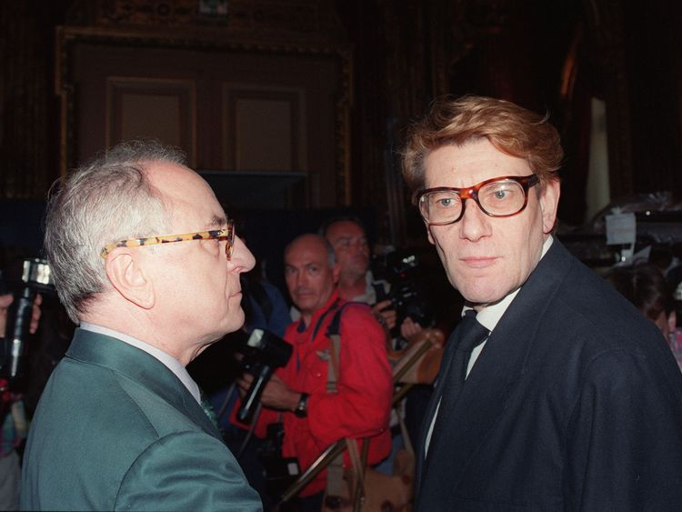 Berge alongside his protege Yves Saint Laurent in 1992