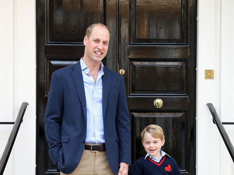 William and George on the steps of Kensington Palace before setting off for the youngster's first day at school