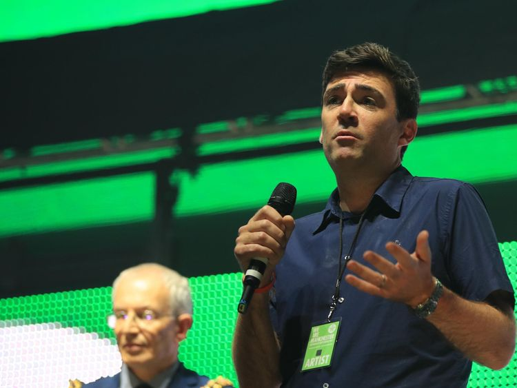 Greater Manchester's Mayor Andy Burnham, speaks during the We Are Manchester benefit show