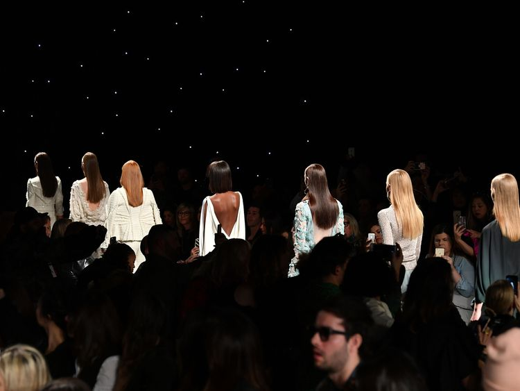 Models walk the runway during a show in New York City