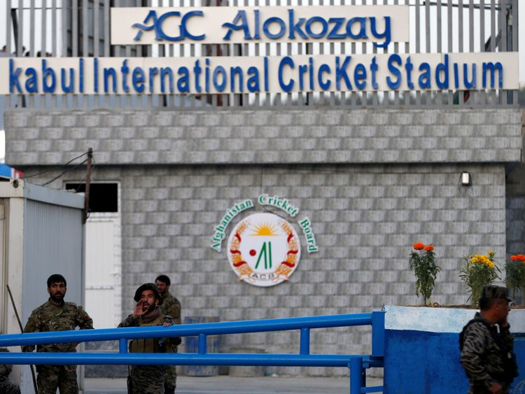 The sign for Afghanistan's International Cricket Stadium