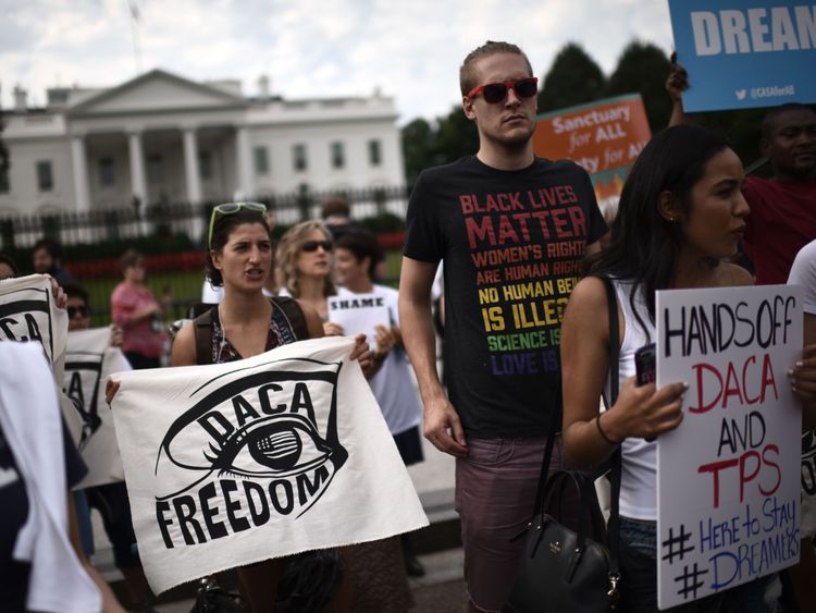 Protesters rally in support of DACA outside the White House