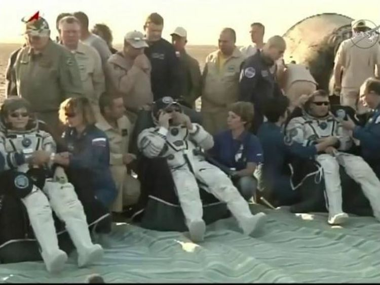 Peggy Whitson,  Fyodor Yurchikhin and Jack Fischer after landing in Kazakhstan. Pic: NASA