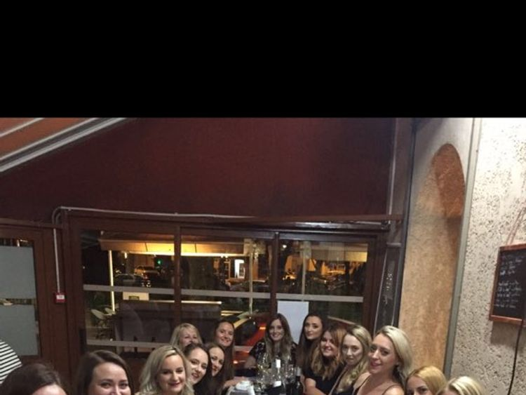 A group of women stranded because of Ryanair cancellations. Pic: Kirstin Armsden