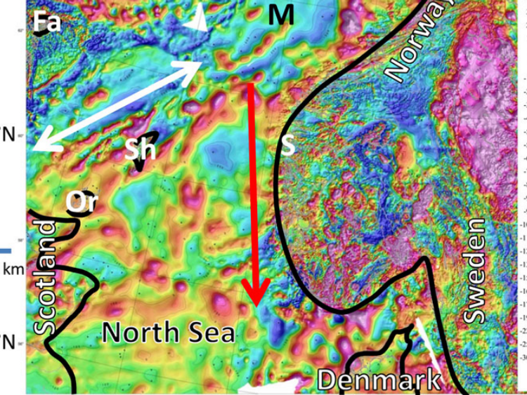The colours show the geomagnetic anomalies. The whales were meant to transport along the white arrow, but incorrectly headed south. Pic: Geological Survey of Norway