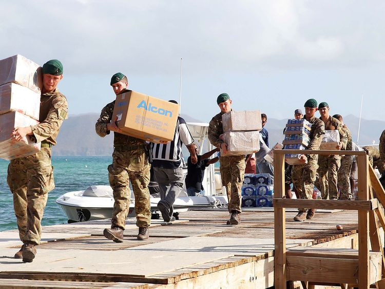 British Army Commandos take part in recovery efforts after hurricane Irma passed Tortola, in the British Virgin Islands