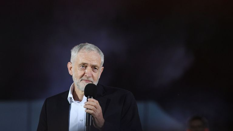 Jeremy Corbyn speaks at a rally in Brighton ahead of his party's annual conference