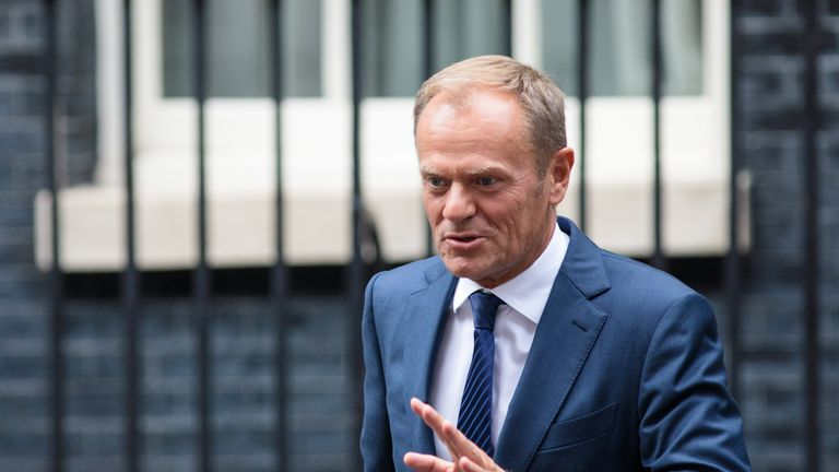 Donald Tusk leaves Downing Street after talks with Theresa May