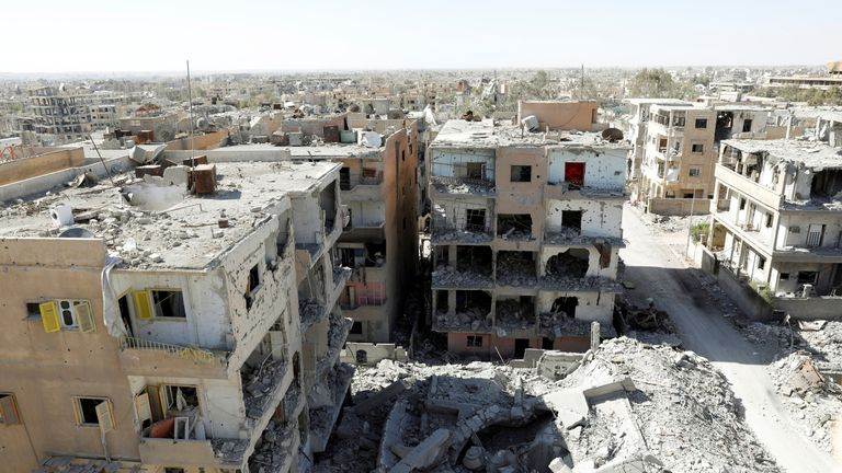 Destroyed buildings in a residential district on Raqqa's front line