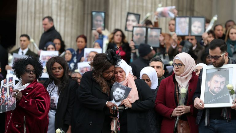 Mourners outside St Paul's Cathedral after a service is held to honour the Grenfell Tower fire victims