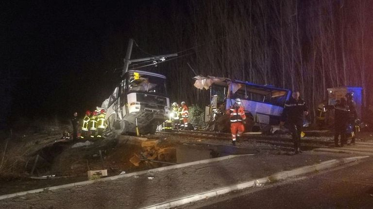 Rescue workers on the scene. Pic: France Bleu Roussillon