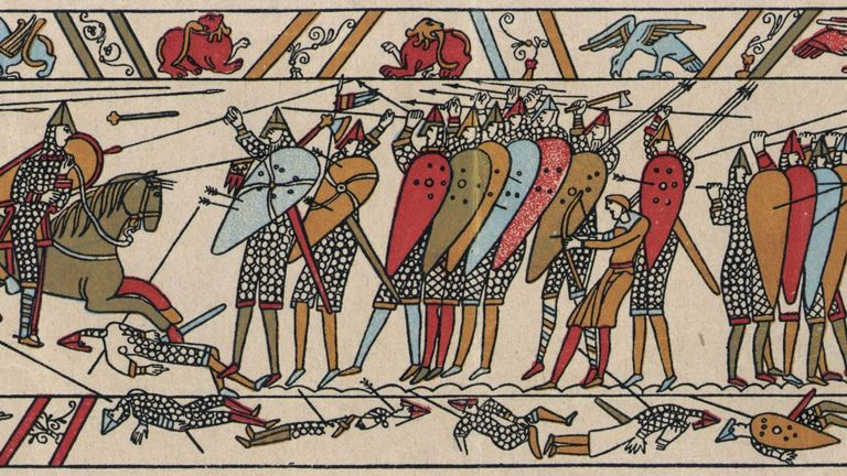 The Bayeux Tapestry depicts the battle of Hastings