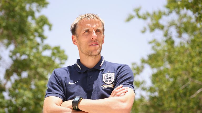 Phil Neville pictured during his time as a coach for England U21s