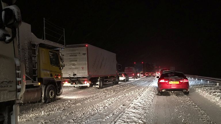 Vehicles stuck in traffic on the M74 south of Glasgow