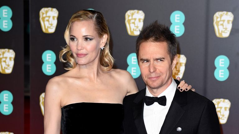 Leslie Bibb and Sam Rockwell arrive at the BAFTA Awards