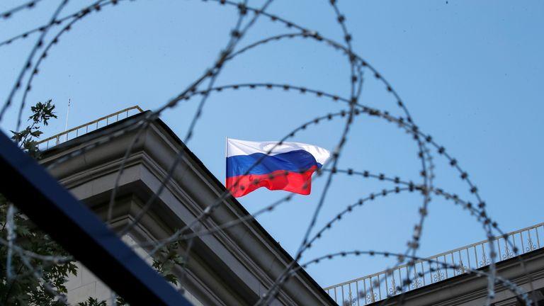 The Russian embassy in Kiev, Ukraine