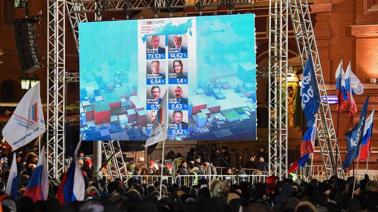Crowds gather in Moscow as a screen shows preliminary results of the Russian election