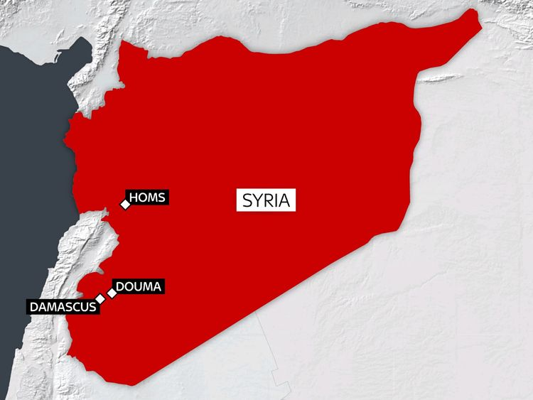 A map of Homs and Douma in Syria