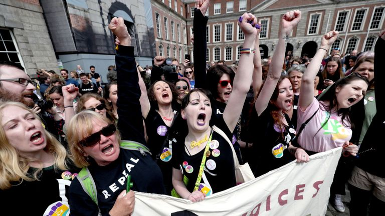 Crowds are gathering outside Dublin Castle ahead of the final result being announced