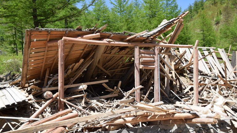The explosion blew wooden buildings on the site to smithereens