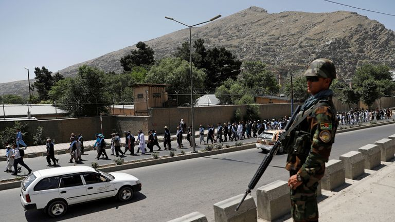 A soldier stands watch in Kabul
