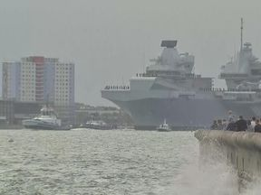 HMS Queen Elizabeth has set off from Portsmouth
