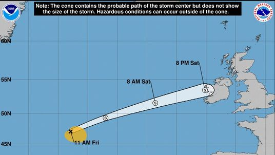 Ernesto will weaken by the time in hits, but will still bring rain and wind on Sunday morning. Pic: NHC