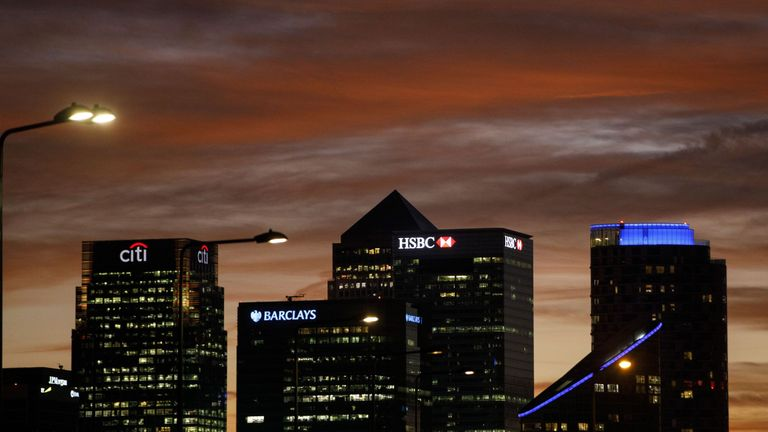 The financial offices of banks, including Barclays, Citi, HSBC, in the financial district of Canary Wharf, are pictured from Greenwich in London on October 29, 2017. / AFP PHOTO / Tolga AKMEN (Photo credit should read TOLGA AKMEN/AFP/Getty Images)