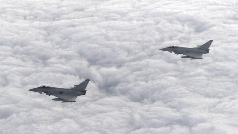 Two RAF Typhoon jets were scrambled because of a 'disruptive passenger'. Pic: