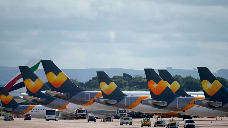 Thomas Cook aircraft parked up at Manchester Airport