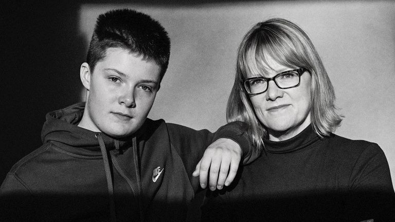 Gemma Telford and her son Leo, who was born a girl