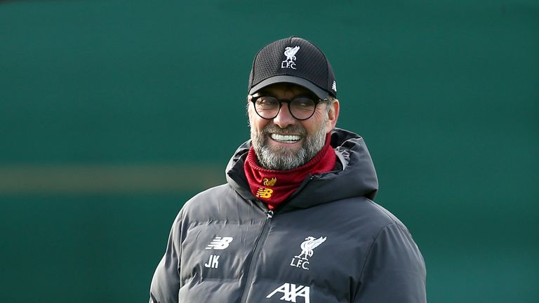 Liverpool manager Jurgen Klopp during a training session at Melwood Training Ground, Liverpool.