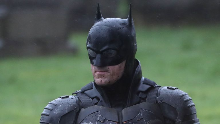 A man dressed as Batman during filming at the Glasgow Necropolis cemetery for a new movie for the surperhero franchise. PA Photo. Picture date: Friday February 21, 2020. Photo credit should read: Andrew Milligan/PA Wire