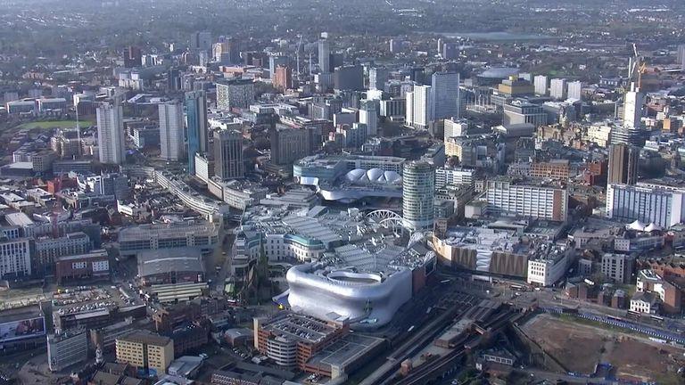 An aerial shot of Birmingham
