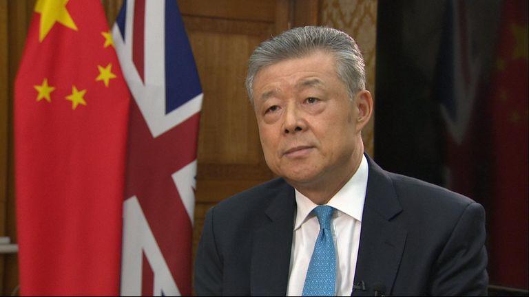 Sky reporter speaks to China's ambassador to the UK