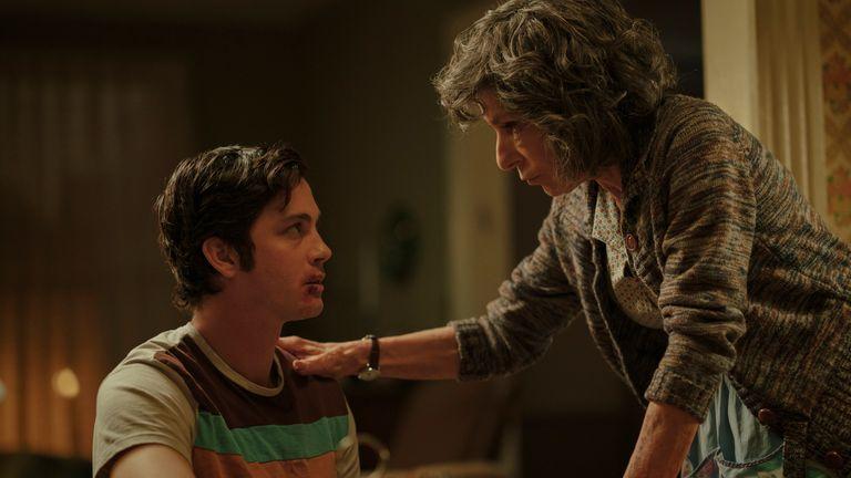 Logan Lerman (left) stars in Hunters alongside Al Pacino. Pic: Amazon Prime Video