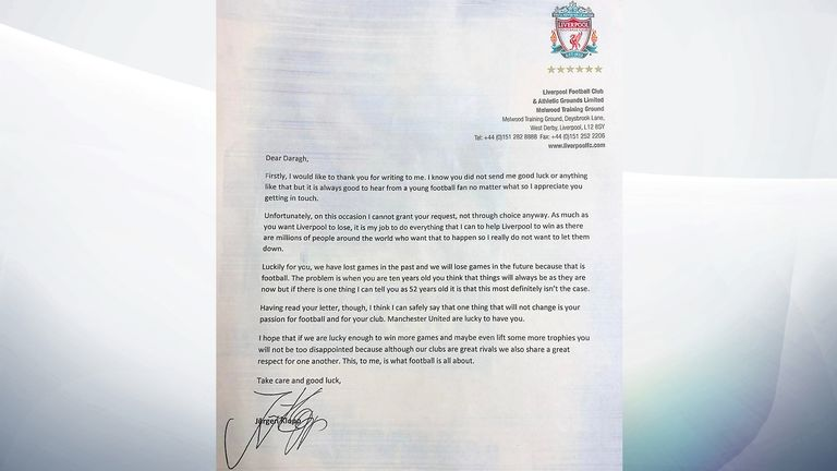 The letter from Liverpool manager Jurgen Klopp to 10 yr old Man Utd fan Daragh Curley. Pic: North West Newspix