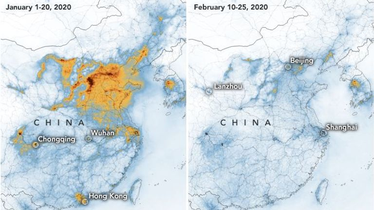 NASA says the outbreak is 'partly related' to the decline in NO2 over China. Pic: NASA
