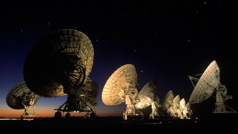 These twenty-seven moveable antennas, known as the Very large Array (VLA), take in radio signals, some extremely faint, from throughout the cosmos, 1999 near Socorro, New Mexico