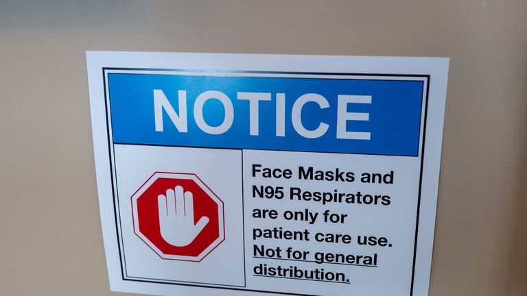 Close-up of sign warning visitors that surgical masks are for patient use only at a hospital in San Francisco, California, following a shortage of masks and N95 respirators during an outbreak of the COVID-19 coronavirus, March 12, 2020. (Photo by Smith Collection/Gado/Getty Images)