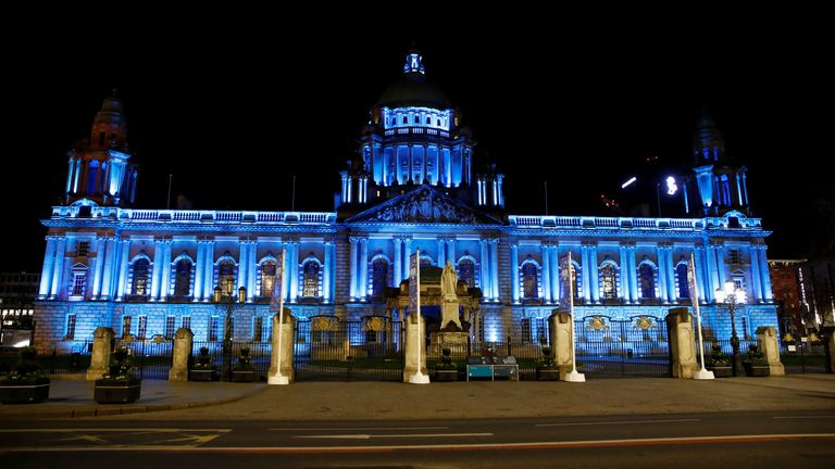 Belfast City Hall is lit up in support